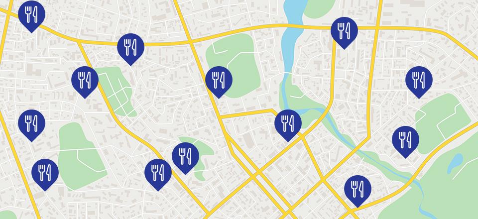 Encuentra los restaurantes más cercanos